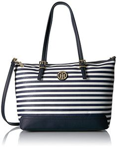 Tommy Hilfiger Honey Stripe Tote ** You can find out more details at the link of the image. Tommy Hilfiger Tote Bags, Satchel, Crossbody Bag, Womens Fashion For Work, Wallets For Women, Evening Bags, Diaper Bag, Honey