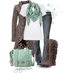 get rid of the bag, change the colour of the either the boots or the sweater and we are ready! Sweater Boots, Knit Cardigan, Brown Cardigan, Long Cardigan, Cardigan Sweaters, Sweater Jacket, Mint Sweater, How To Wear Cardigan, Cardigans