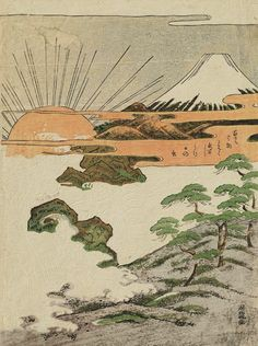 Mount Fuji and First Sunrise of the New Year.  Woodblock print.  About 1770's, Japan, by artist Isoda Koryusai The Kimono Gallery