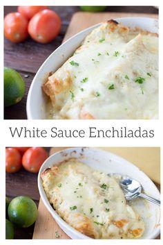 Easy to make green verde white sauce enchiladas!