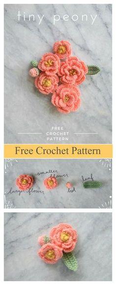 Tiny Peony Flower Free Crochet Pattern #freecrochetpatterns #flowers