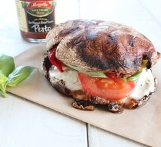 This vegetarian, gluten free Italian Grilled Portobello Caprese Sandwich combines fresh mozzarella, tomatoes & basil between two large portobello mushrooms. Veggie Recipes, Vegetarian Recipes, Cooking Recipes, Healthy Recipes, Healthy Food, Healthy Eating, Healthy Lunches, Vegan Meals, Delicious Recipes