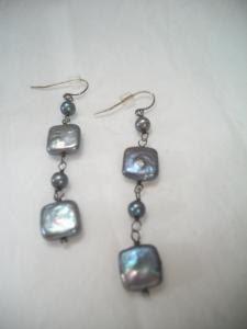 peacock pearl geometric shape dangle earrings by ALEXLITTLETHINGS, $13.00