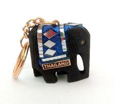BIG size Handmade THAILAND wooden ELEPHANT KEYRING sparkly blue