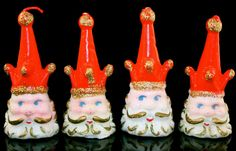 Vintage Christmas Santa Clause Court Jester Candles Rare Set of 4 Made in Japan NIB 4""
