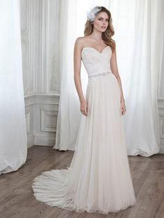 Simple Strapless Lace and Tulle Wedding Dress with a Sparkley Belt by Maggie Sottero
