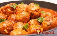Meatballs in tomato sauce Czech Recipes, Russian Recipes, Ethnic Recipes, Mince Dishes, Minced Meat Recipe, Pork Mince, Saveur, How To Cook Chicken, Pork Recipes