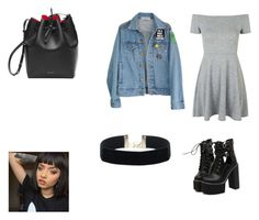 """""""outfit #172"""" by anaguilhermep98 on Polyvore featuring Topshop, WithChic, High Heels Suicide, black, denim, dress and denimjacket"""