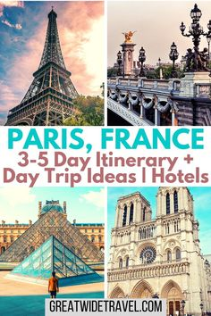 You can see a great deal of the main sights in Paris, France with just 3-5 days. Read my itinerary, suggestions, and also ideas for day or weekend trips away! #Paris #3DaysParis #4DaysParis #5DaysParis #FranceTravel #VisitParis #NotreDame #Louvre #EiffelTower #Versailles Paris Travel Tips, Europe Travel Guide, France Travel, Italy Travel, Travel Guides, Travel Destinations, Travel Abroad, Travel Goals, European Vacation