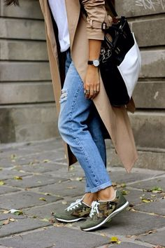 camo sneaks, trench + denim