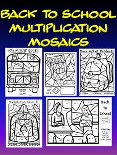 This is a set of five back to school themed multiplication mosaic pages. Students solve the problems and color using the color key. These are alway...