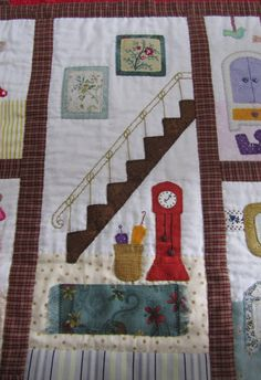 El blog de Dori: Arte, buen gusto y detalles Applique Patterns, Quilt Patterns, Applique Ideas, Dollhouse Quilt, House Quilts, Panel Quilts, Quilting Projects, Dressmaking, Fabric Crafts