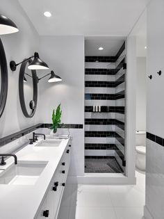 USA contemporary home decor and mid-century modern lighting ideas from DelightFULL Bathroom Tile Designs, Bathroom Interior Design, Kitchen Interior, Decor Interior Design, Interior Decorating, Bathroom Ideas, Bathtub Ideas, Bathroom Goals, Interior Paint