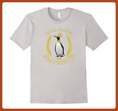 Mens God Save The Emperor Penguin Eco Awareness T-Shirt. Novelty XL Silver - Animal shirts (*Partner-Link)