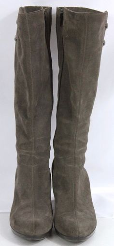 LaCanadienne Mazy Womens Suede Boots Knee High Gray 7M Inside Zip Button Detail #LaCanadienne #KneeHighBoots #Casual