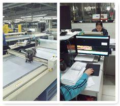 左:北京工場の自動裁断機(CAM)右:自動設計システム(CAD)
