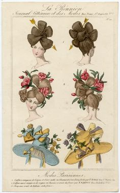 La Reunion (1827) ~ a ladies journal with examples of fashionable hairstyles and bonnets of the day.