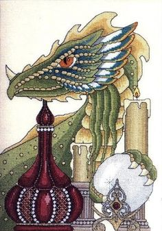 The Thief 1 of dragon Celtic Cross Stitch, Dragon Cross Stitch, Fantasy Cross Stitch, Cross Stitch Love, Cross Stitch Pictures, Cross Stitch Designs, Cross Stitch Patterns, Cross Stitching, Cross Stitch Embroidery
