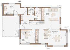 Grundriss Erdgeschoss Fertighaus mit Satteldach