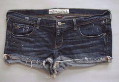 Hollister Denim Mini Shorts 11 Destroyed Dark Cut Offs Cuffed Stretch Jean Low #Hollister #Denim