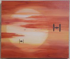 "Original Star Wars The Force Awekens Tie Fighter Sunset 12"" x 14"" x  1  1/4"" arcylic fan art painting on canvas by AArchanaAndCo on Etsy"
