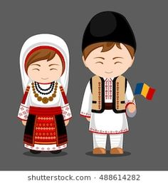Imagens, fotos stock e vetores similares de Ukrainians in national dress with a flag. A man and a woman in traditional costume. Travel to Ukraine.