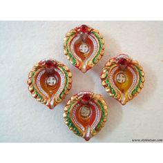 SHOP: http://www.craftsvilla.com/storeutsav Clay Diyas Golden - Set Of 4 - Diyas And Lights by Store Utsav - Online Shopping for Diwali Gifts by Store Utsav