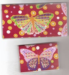 Checkbook Cover Debit Set Butterfly Red