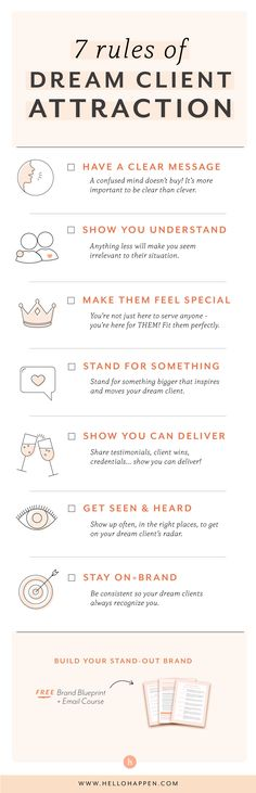 7 Rules of Dream Client Attraction - Entrepreneurs - Ideas of Buying First House Branding Your Business, Small Business Marketing, Business Advice, Creative Business, Online Business, Content Marketing, Affiliate Marketing, Marketing Branding, Marketing Ideas