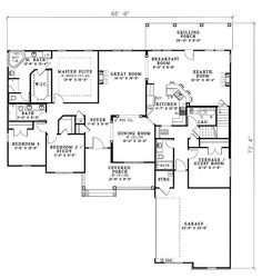 First Floor Plan of Country   Traditional   House Plan