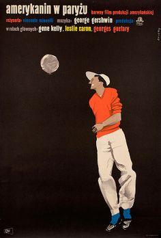1958 Polish poster for AN AMERICAN IN PARIS (Vincente Minnelli, USA, 1951)   Designer: Waldemar Swierzy