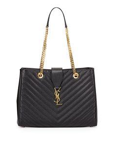 e0420be70 Monogram Matelasse Shopper Bag, Black. Chevron $2550 Yves Saint Laurent Bags,  Saint Laurent