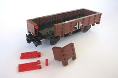 Generic gondola / open wagon - break-down Lego Train Station, Lego Winter Village, Lego Fire, Lego Boards, Lego Mechs, Lego Trains, Lego Military, Lego Room, Lego Modular