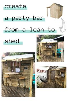 The Crazy Kitchen: Create a Party Bar from a Lean To Shed Make a functional place to relax in your garden using a standard shed with lean to Free Standing Pergola, Pub Sheds, Crazy Kitchen, Lean To Shed, Garden Bar, Garden Ideas, Growing Gardens, Pergola Lighting