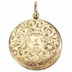 Antique Engraved Gold Locket with Family Crest 1830's