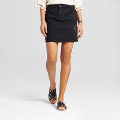 Women's Denim Skirt with Destruction Detail - Mossimo Supply Co. Black 12