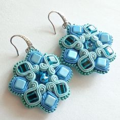 Blue soutache earrings Angular by Lolissa on Etsy