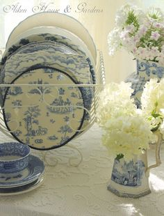 Love these blue and white dishes Aiken House & Gardens