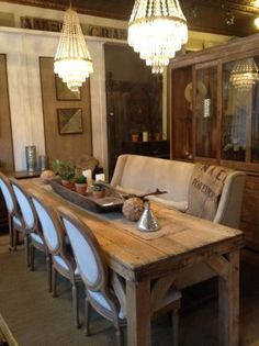 Refinished And Sun Bleached Antique Pine Harvest/farm Dining Table Love The  Chairs Paired With A Long Bench