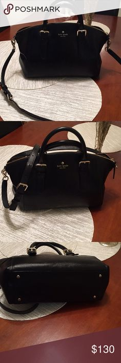 Kate Spade handbag with optional shoulder strap Gorgeous black Kate spade bag! I just bought this bag, love it but a little to big for me. No marks or scuffs on the outside leather! kate spade Bags Crossbody Bags