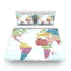 """Agnes Schugardt """"Geo Map"""" Abstract Cotton Duvet Cover from KESS InHouse"""
