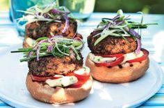 burger discovered by BeaLittleBit on We Heart It Veg Recipes, Salmon Burgers, Baked Potato, Vegetarian, Beef, Vegan, Ethnic Recipes, Food, Party