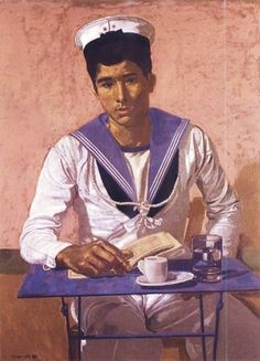 Yannis Tsarouchis was a Greek painter. He filled his canvases with images of vulnerable men and (to a much lesser extent) strong women. Comics Illustration, Illustrations, Art Gay, Painter Artist, Greek Art, Art Database, Henri Matisse, Portraits, Female Art