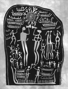pre-viking from petroglyph scandinavia/boats, sun symbols, male and female warriors, animals, female and male kissing. swords and axes, spiral/done in batik by heidi lange