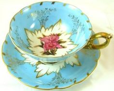 Royal Sealy vintage Japan blue ornate orchid floral gold by TamidP