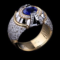 Men's Gold & Diamond Ring with a Sapphire Jewel Pandora Jewelry, Jewelry Rings, Jewelry Accessories, Fine Jewelry, Jewelry Design, Silver Jewelry, Ring Watch, Brighton Jewelry, Love Ring