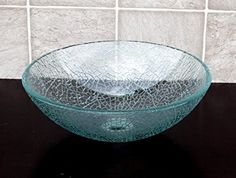 Beau Bathroom Crackle Glass Vessel Sink + Free Chrome Pop Up Drain/ring