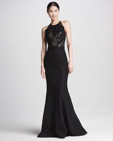 Lace-Bodice Trumpet Gown