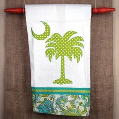 South Carolina palmetto moon kitchen dish towels or decorative tea towels feature a palmetto tree applique and a whimsical border along the bottom. Palmetto Tree, Palmetto Moon, Holiday Gifts, Christmas Gifts, Tree Crafts, Packaging Ideas, Gift Packaging, Inspired Homes, Kitchen Towels