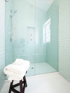 walk in shower tile blue walls light floor - Google Search